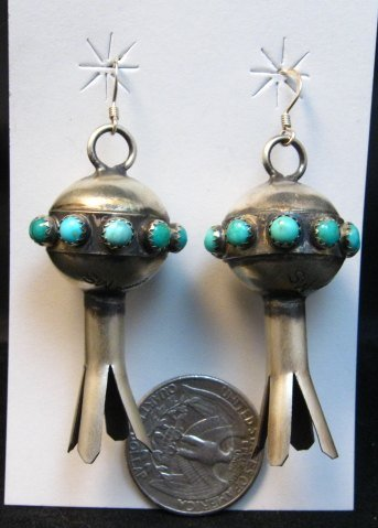 Image 5 of Navajo ~ Monica Smith ~ Hand Made Silver Turquoise Squash Blossom Earrings