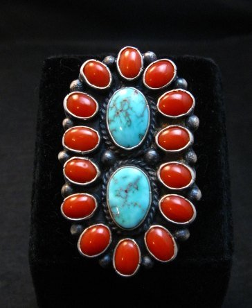 Image 0 of Native American Navajo Turquoise Coral Cluster Ring sz9, Sheila Tso