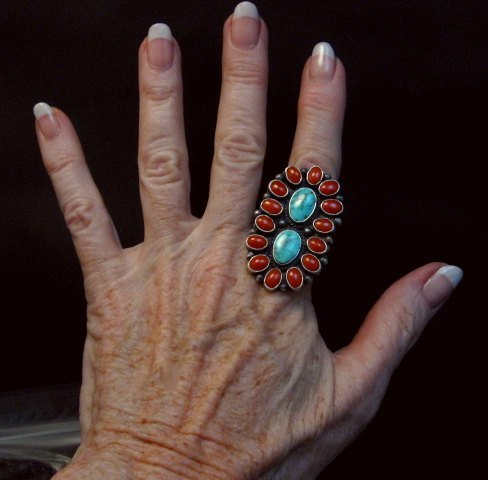 Image 1 of Native American Navajo Turquoise Coral Cluster Ring sz9, Sheila Tso