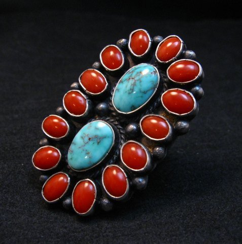 Image 2 of Native American Navajo Turquoise Coral Cluster Ring sz9, Sheila Tso