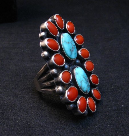 Image 3 of Native American Navajo Turquoise Coral Cluster Ring sz9, Sheila Tso