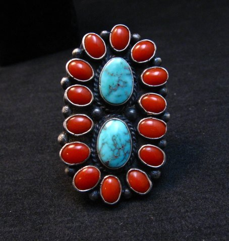Image 6 of Native American Navajo Turquoise Coral Cluster Ring sz9, Sheila Tso