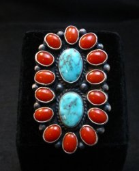 Native American Navajo Turquoise Coral Cluster Ring sz9, Sheila Tso