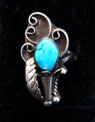 Vintage Turquoise Squash Blossom Ring D&E Platero sz8