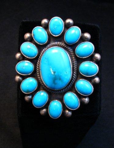 Image 0 of Huge Navajo Ernest Roy Begay Turquoise Cluster Ring sz6-1/2