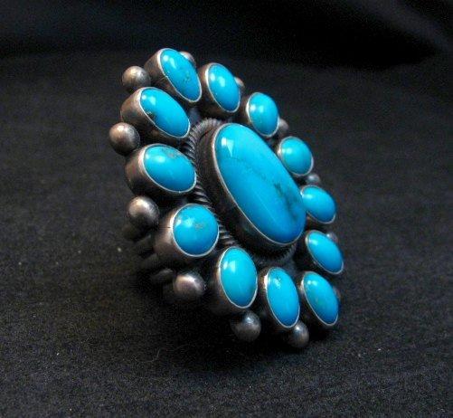 Image 2 of Huge Navajo Ernest Roy Begay Turquoise Cluster Ring sz6-1/2