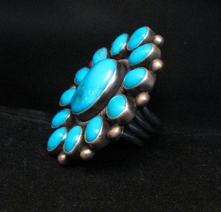 Image 3 of Huge Navajo Ernest Roy Begay Turquoise Cluster Ring sz6-1/2