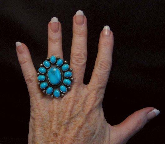 Image 1 of Huge Navajo Ernest Roy Begay Turquoise Cluster Ring sz6-1/2