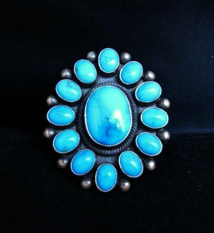 Image 5 of Huge Navajo Ernest Roy Begay Turquoise Cluster Ring sz6-1/2
