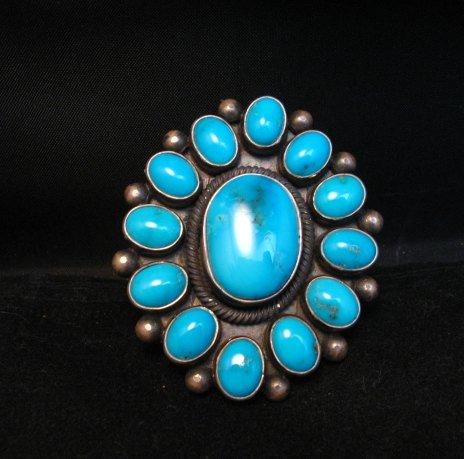 Image 6 of Huge Navajo Ernest Roy Begay Turquoise Cluster Ring sz6-1/2