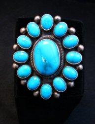 Huge Navajo Ernest Roy Begay Turquoise Cluster Ring sz6-1/2