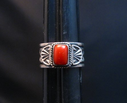 Image 0 of Navajo Coral Sterling Silver Ring Darrell Cadman sz8-1/2