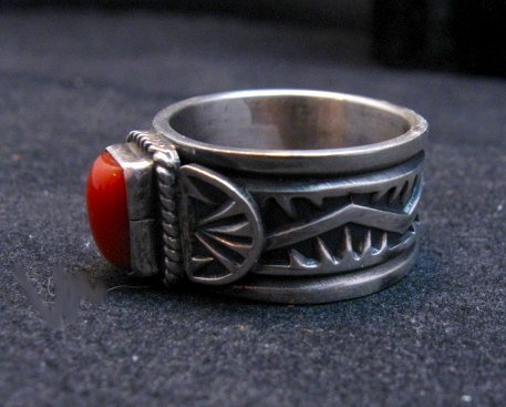 Image 3 of Navajo Coral Sterling Silver Ring Darrell Cadman sz8-1/2