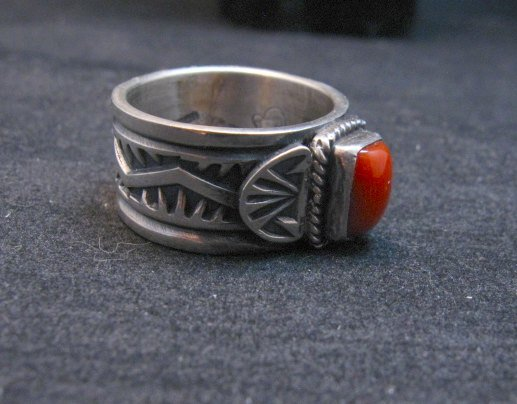 Image 1 of Navajo Coral Sterling Silver Ring Darrell Cadman sz8-1/2