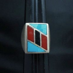 Vintage Pawn Navajo Turquoise Coral Inlay Ring sz10