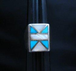 Vintage Pawn Navajo Turquoise MOP Inlay Ring sz10-1/4