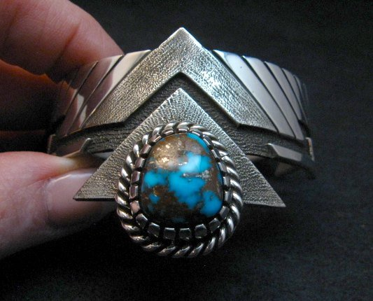 Image 10 of Nick Nez Navajo One-of-a-Kind Tyrone Turquoise Silver Bracelet