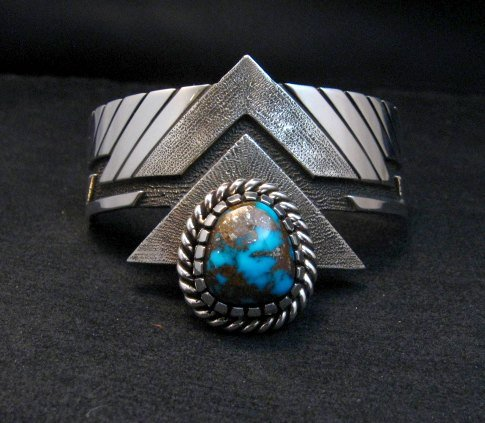 Image 0 of Nick Nez Navajo One-of-a-Kind Tyrone Turquoise Silver Bracelet