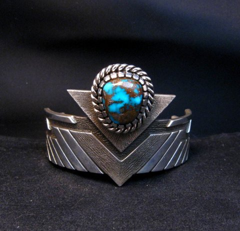 Image 1 of Nick Nez Navajo One-of-a-Kind Tyrone Turquoise Silver Bracelet