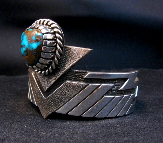 Image 2 of Nick Nez Navajo One-of-a-Kind Tyrone Turquoise Silver Bracelet