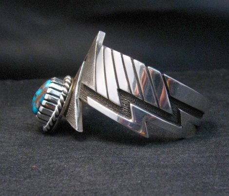 Image 7 of Nick Nez Navajo One-of-a-Kind Tyrone Turquoise Silver Bracelet