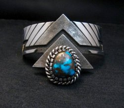 Nick Nez Navajo One-of-a-Kind Egyptian Turquoise Silver Bracelet