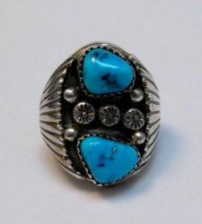 Navajo Native American Turquoise Silver Ring Sz9