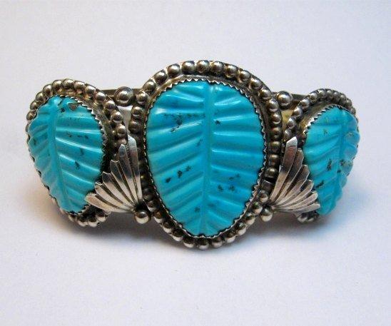 Image 0 of Native American Zuni Carved Turquoise Leaf Bracelet, Loyolita Othole