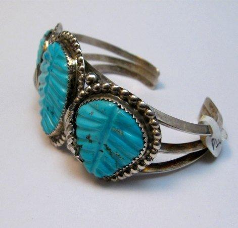 Image 1 of Native American Zuni Carved Turquoise Leaf Bracelet, Loyolita Othole