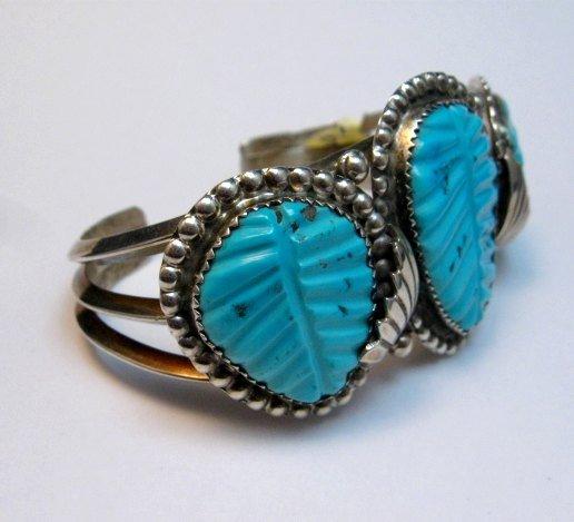 Image 2 of Native American Zuni Carved Turquoise Leaf Bracelet, Loyolita Othole