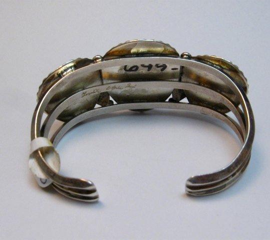 Image 3 of Native American Zuni Carved Turquoise Leaf Bracelet, Loyolita Othole
