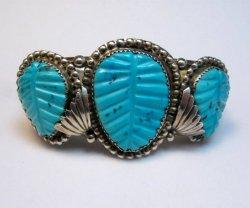 Native American Zuni Carved Turquoise Leaf Bracelet, Loyolita Othole