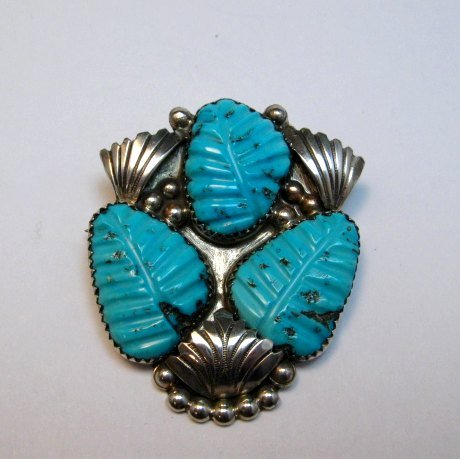 Image 0 of Native American Zuni Carved Turquoise Leaf Pin/Pendant, Loyolita Othole