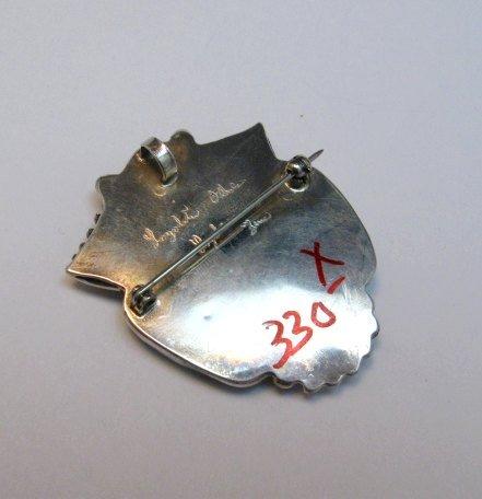 Image 1 of Native American Zuni Carved Turquoise Leaf Pin/Pendant, Loyolita Othole