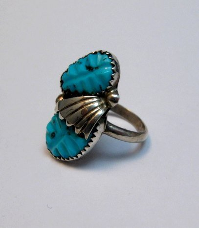 Image 1 of Zuni Native American Carved Turquoise Silver Ring, Loyolita Othole, sz6-1/2