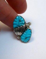 Zuni Native American Carved Turquoise Silver Ring, Loyolita Othole, sz6-1/2