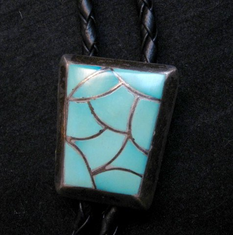 Image 0 of Vintage 1970's Zuni Turquoise Inlay Bolo Tie