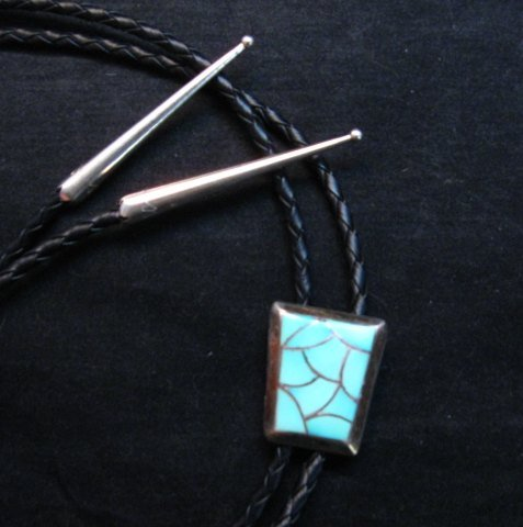 Image 1 of Vintage 1970's Zuni Turquoise Inlay Bolo Tie