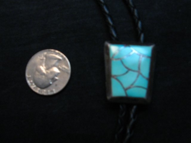 Image 2 of Vintage 1970's Zuni Turquoise Inlay Bolo Tie
