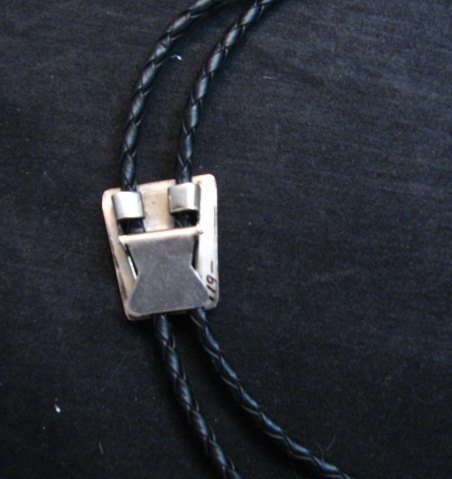 Image 3 of Vintage 1970's Zuni Turquoise Inlay Bolo Tie