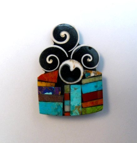 Image 0 of Abstract Santo Domingo Mosaic Inlay Pin/Pendant, Mary Tafoya