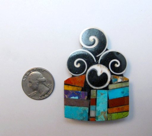 Image 1 of Abstract Santo Domingo Mosaic Inlay Pin/Pendant, Mary Tafoya