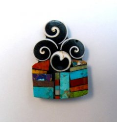 Abstract Santo Domingo Mosaic Inlay Pin/Pendant, Mary Tafoya