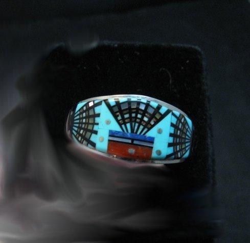 Image 1 of Navajo Erwin Tsosie Yei Bei Chai Night Sky Inlay Ring sz12-1/2