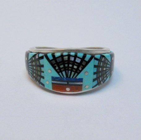 Image 0 of Navajo Erwin Tsosie Yei Bei Chai Night Sky Inlay Ring sz12-1/2