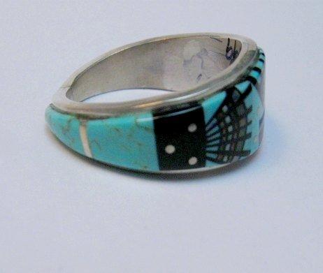 Image 2 of Navajo Erwin Tsosie Yei Bei Chai Night Sky Inlay Ring sz12-1/2