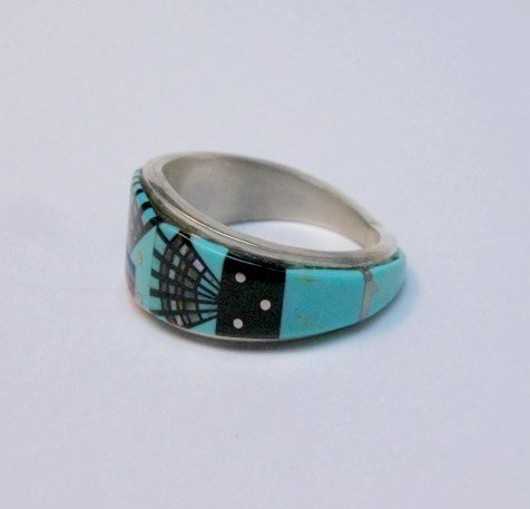 Image 3 of Navajo Erwin Tsosie Yei Bei Chai Night Sky Inlay Ring sz12-1/2
