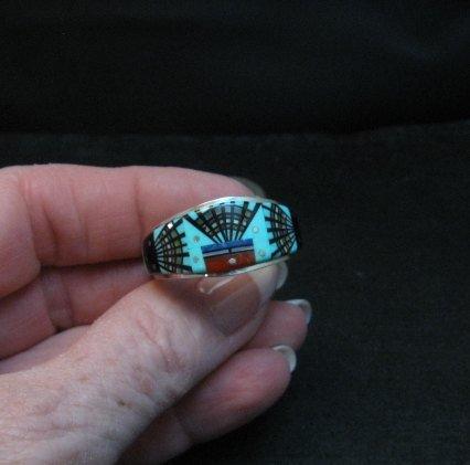 Image 5 of Navajo Erwin Tsosie Yei Bei Chai Night Sky Inlay Ring sz12-1/2