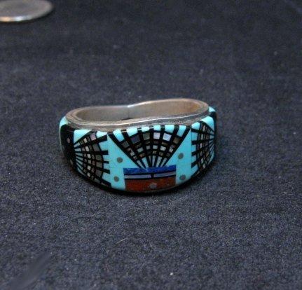 Image 6 of Navajo Erwin Tsosie Yei Bei Chai Night Sky Inlay Ring sz12-1/2