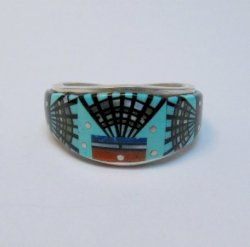 Navajo Erwin Tsosie Yei Bei Chai Night Sky Inlay Ring sz12-1/2